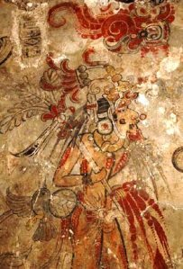 King impersonating  hero Hunahpu scarifying the penis. Fragment mural  San Bartolo foto Wikipedia