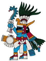 Huitzilopochtli Azul con su serpiente de fuego que usaba como arma
