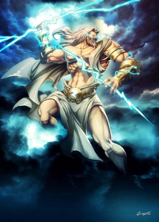 Zeus y su rayo que usaba como arma