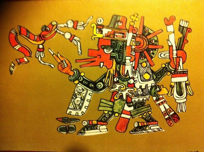 dios-azteca-del-viento-quetzacóatl con baston de mando