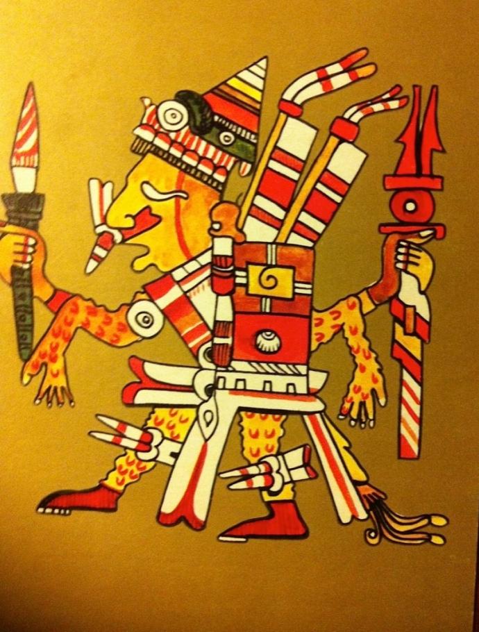 dios-azteca-el-sec3b1or-desollado-xipe-totec con baston de mando