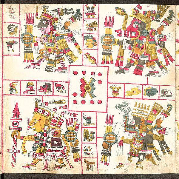 dioses aztecas con baston de mando codex_borgia-patrones-de-la-guerra-tlaloc-xiuhtecuhtli-mixcoatl-xipetotec