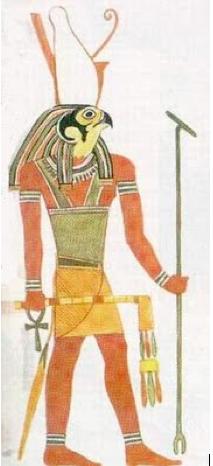 horus-hijo-de-iisis-y-osiris-con-cabeza-de-halcon con su baston de mando