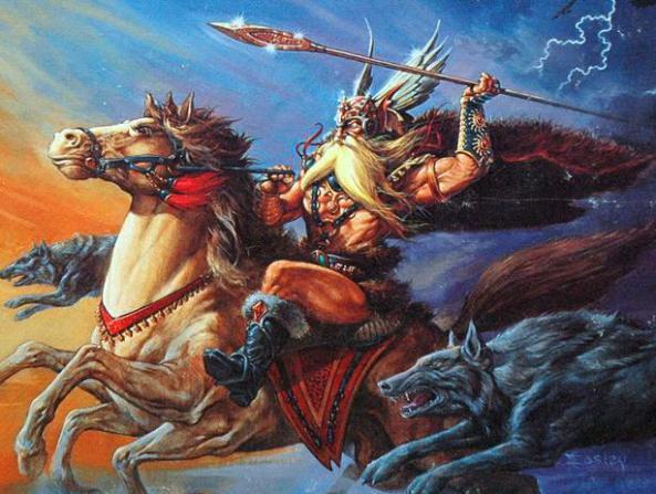 Dios Odin y su arma o baston de mando