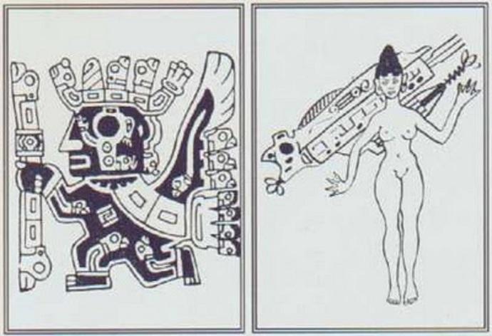 Nave  voladora y diosa orejona Tiahuanaco