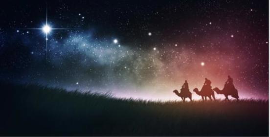 La Estrella de Belen guiando a los tres Reyes Magos