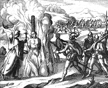 Cristianos españoles quemando indígenas