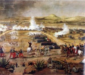 Anónimo, Batalla del 5 de mayo de 1862, óleo sobre tela, Museo Nacional de las Intervenciones