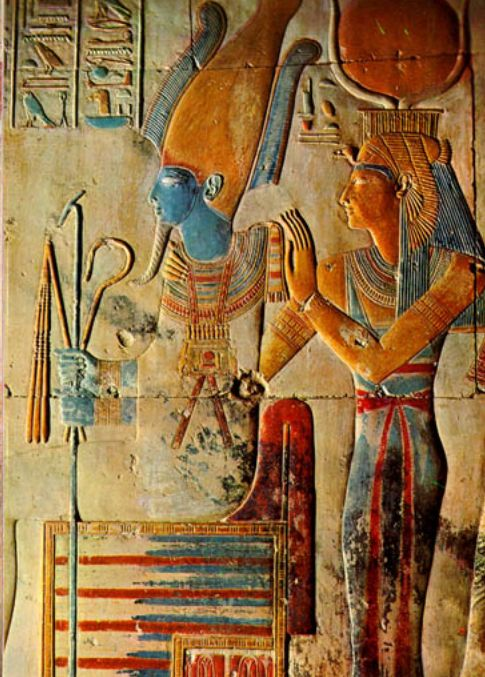 Painted relief of Osiris and Isis in the temple of Seti I at Abydos