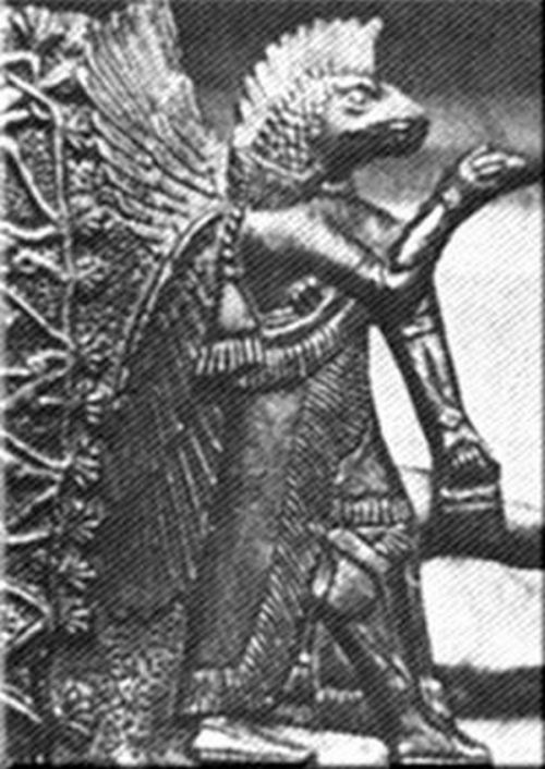 antiguo dios sumerio con alas