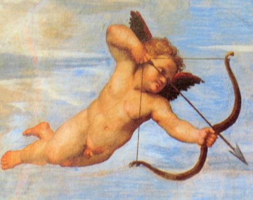 detalle pintura de Rafael, cupido disparando, en la Farnesina de roma