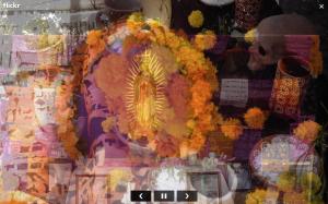 Ofrendia Dia de Muertos con imagen de la Virgen