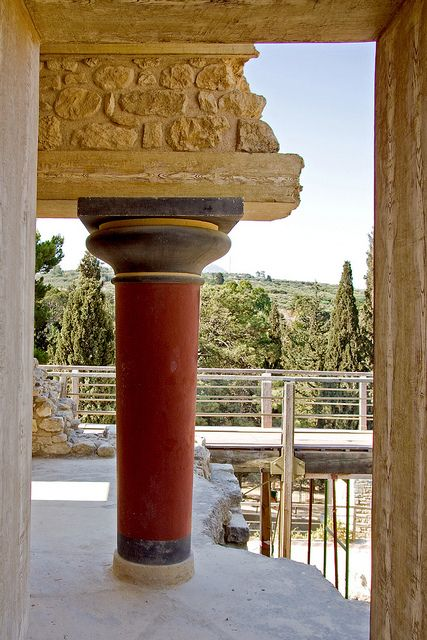 Ancient Palace Column Knossos Crete Greece