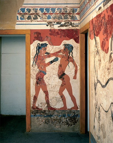boxing boys fresco Thera Santorini