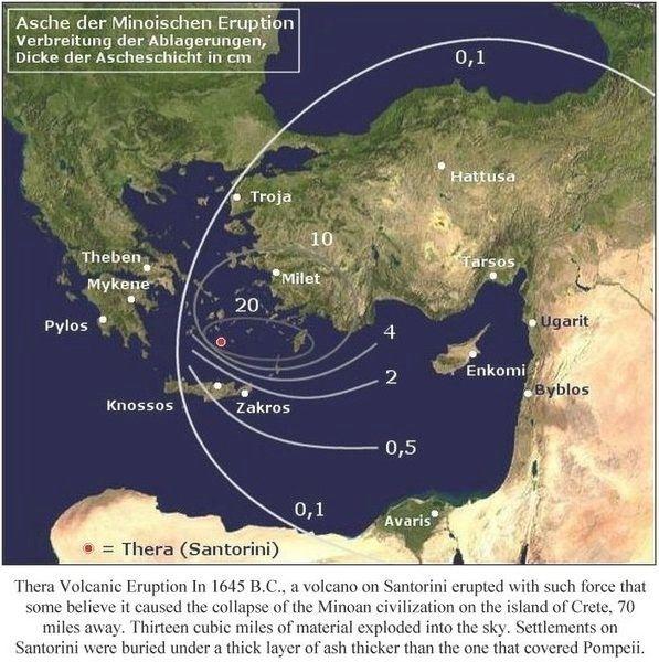 erupción de Thera zona de influencia