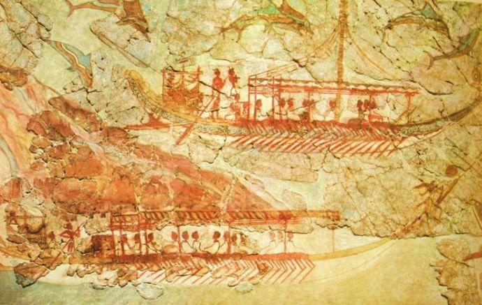 Frescos de Akrotiri. Salida de barcos desde la ciudad y su llegada a otra Posiblemente desde la isla de Tera a Creta