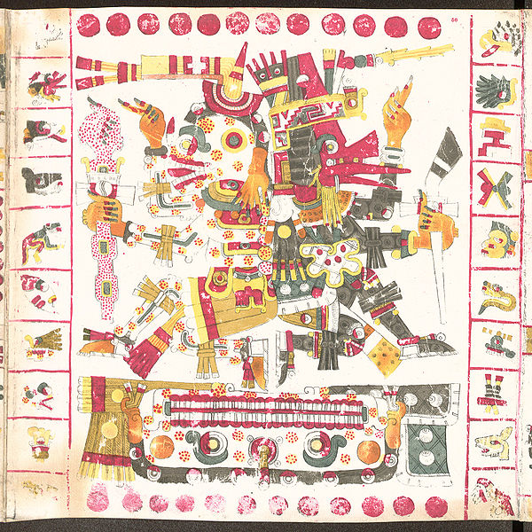 Mictlantecuhtli (1a) y Quetzalcóatl (1b),  simbolizan la vida y la muerte Códice Borgia