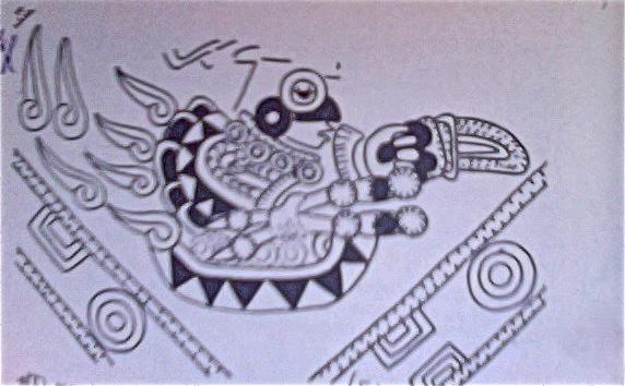 Quetzalcóatl como Señor de la Aurora Huizcalpantecuhtli en una nave aérea fresco teotihuacano