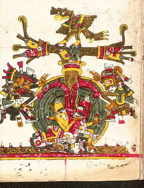 Tree_of_life_Borgia codex El árbol de vida  Quetzalcóatl  lado izquierdo y Xochipilli  lado derecho evocan el movimiento unificador de descenso y ascensión .Wiki commmons