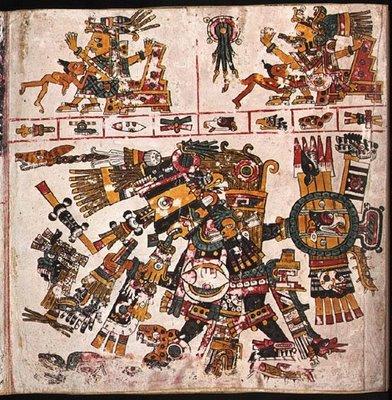 """Yayauhqui Tezcatlipoca, """"El espejo humeante de color oscuro""""( contrincante en varias historias de Quetzalcoatl),"""
