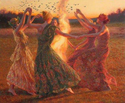 mujeres otoño fuego
