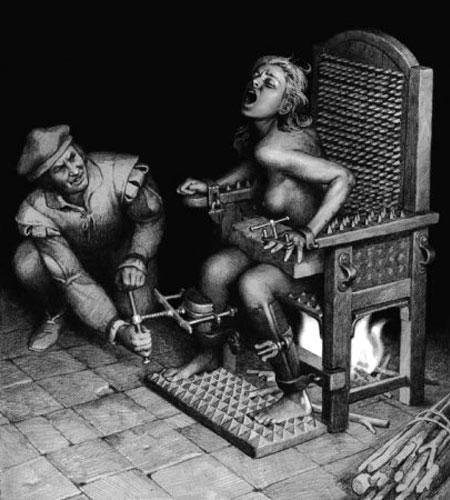tortura inquisicion a mujer silla clavos