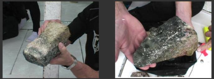 Dos pedazos de mármol removidos de la parte inferior de un bloque en la Carretera de Bimini