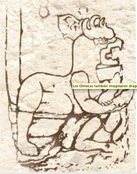 dragon olmeca  dibujo de figura tallada en piedra en Chalcatzingo Mexico foto INAH