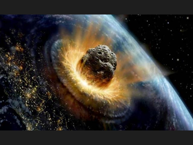 meteorito chocando en la Tierra