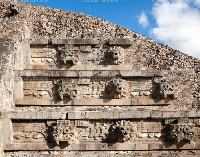 Feathered Serpent Pyramid at Teotihuacan, Mexico