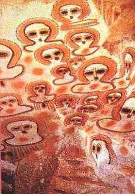 extraterrestres resplandecientes wandjinas con halo petroglifo